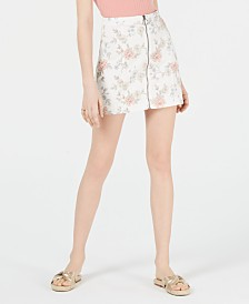 Tinseltown Juniors' Printed Zip-Front Denim Mini Skirt