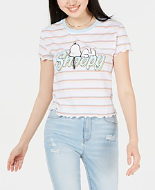 Love Tribe Peanuts Snoopy Striped Graphic T-Shirt