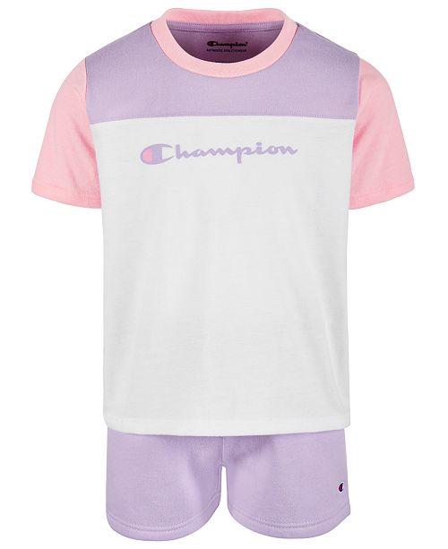 Champion Toddler Girls 2-Pc. Colorblocked T-Shirt & Shorts Set