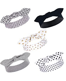Hudson Baby Girl Cotton Headbands, Black/Gold Heart 5 Pack, One Size