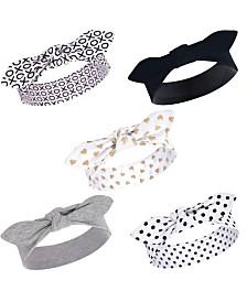 Hudson Baby Girl Cotton Headbands, Black/Gold Heart 5 Pack, One Size