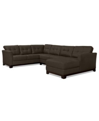 martino leather 3piece chaise sectional sofa - Pit Sectional