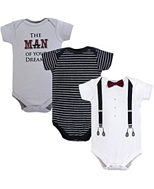 Baby Boys Cotton Bodysuits, Short-Sleeve 3-Pack