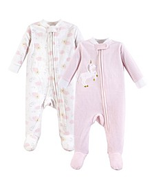 Baby Girls and Baby Boys Fleece Union Suit/Coveralls, Sleep and Play 2-Pack