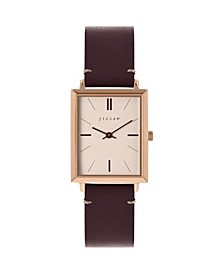 Ladies Watch, Rectangular Rose Gold Stainless Steel Case, Champagne Dial, Genuine Leather Strap