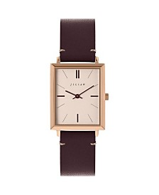 Jigsaw Ladies Watch, Rectangular Rose Gold Stainless Steel Case, Champagne Dial, Genuine Leather Strap