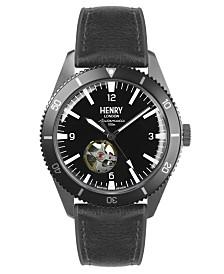 Henry London Sports Automatic Gun Metal Case Black Automatic Dial Black Silicone Strap
