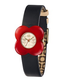 Orla Kiely Watch, Navy Blue Leather Strap With Buckle Closure