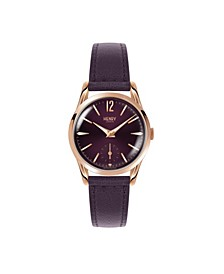 Hampstead Ladies 30mm Purple Leather Strap Watch with Rose Gold Stainless Steel Casing