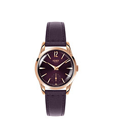 Henry London Hampstead Ladies 30mm Purple Leather Strap Watch with Rose Gold Stainless Steel Casing