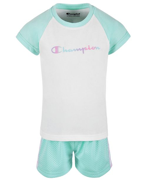 Champion Little Girls 2-Pc. Colorblocked Logo T-Shirt & Mesh Shorts