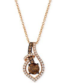"Chocolatier® Diamond 18"" Pendant Necklace (5/8 ct. t.w.) in 14k Rose Gold"
