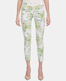 Calvin Klein Floral-Print Pull-On Skinny Pants