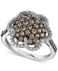 Le Vian Chocolatier® Diamond Flower Ring (1-1/10 ct. t.w.) in 14k White Gold