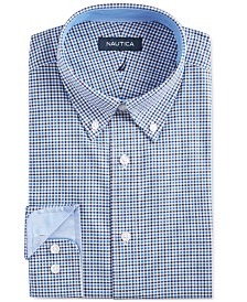 Nautica Men's Classic/Regular Fit Comfort Stretch Wrinkle Free Tattersall Dress Shirt