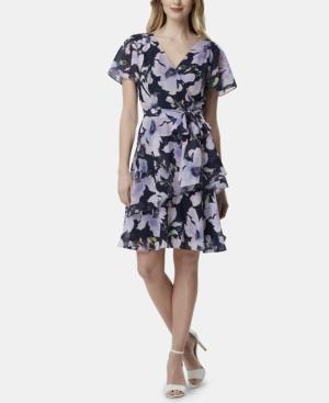 Tahari Asl Dresses LAYERED FLORAL-PRINT SHIFT DRESS