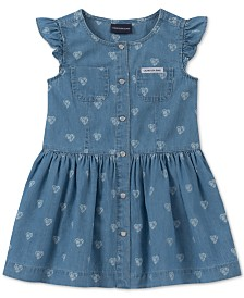 Calvin Klein Baby Girls Printed Cotton Denim Dress