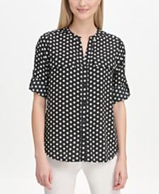 Calvin Klein Polka Dot Band-Collar Shirt