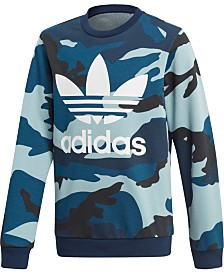 adidas Originals Big Boys Camo-Print Logo Sweatshirt