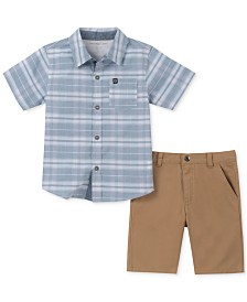 Calvin Klein Little Boys 2-Pc. Plaid Shirt & Twill Shorts Set