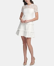 kensie Tiered Lace-Yoke Fit & Flare Dress