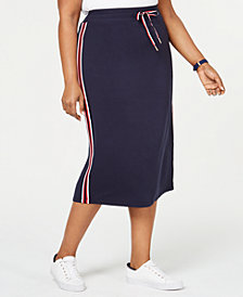 Tommy Hilfiger Plus Size Striped Drawstring Skirt, Created for Macy's