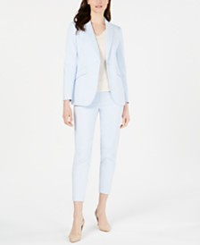 Anne Klein Peak-Lapel Blazer, V-Neck Top & Ankle Pants