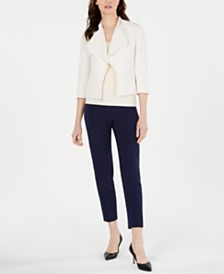 Anne Klein Cascade-Lapel, V-Neck Top & Ankle Pants