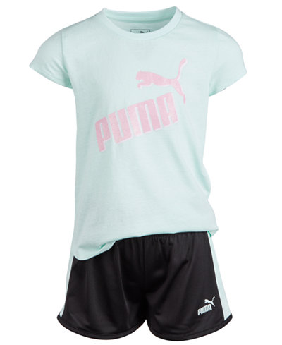 Puma Little Girls 2-Pc. Logo T-Shirt & Shorts Set