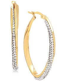 Swarovski Crystal Hoop Earrings in 14k Gold