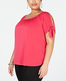 I.N.C. Plus Size Cold-Shoulder Bows Top, Created for Macy's