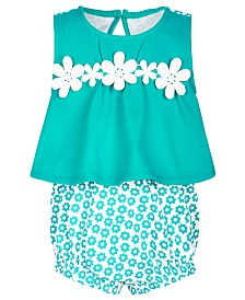 First Impressions Baby Girls Crochet Daisy Cotton Bubble Romper, Created for Macy's