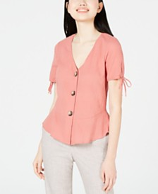 BCX Juniors' Button Crinkle Peplum Top