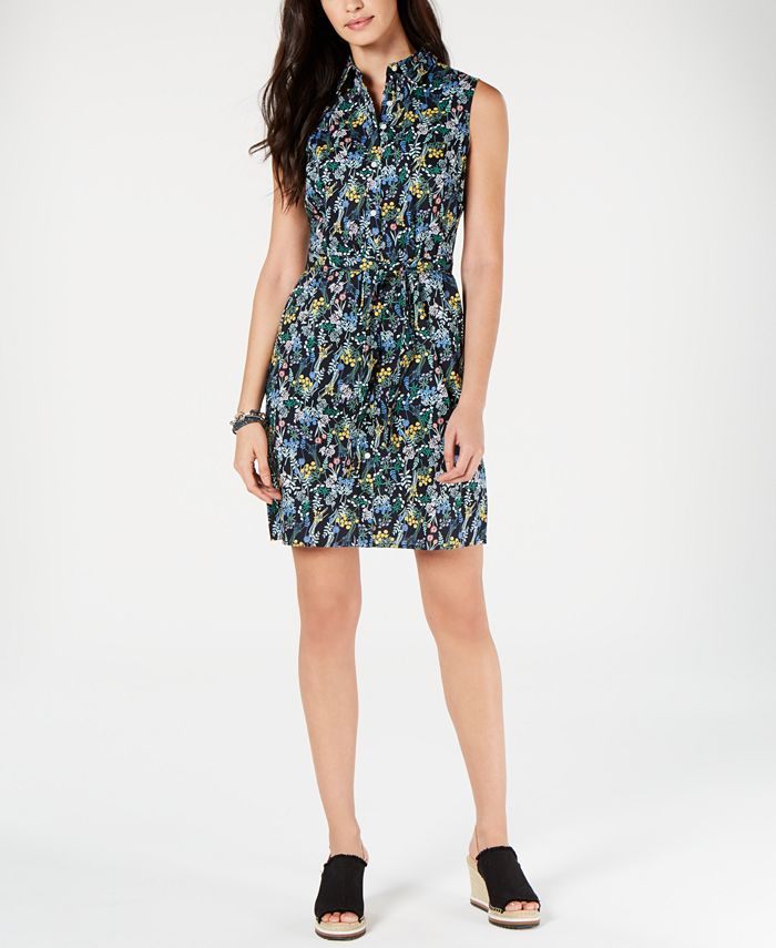Tommy Hilfiger - Cotton Floral-Print Belted Shirtdress
