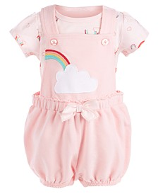 First Impressions Baby Girls 2-Pc. T-Shirt & Shortalls Set, Created for Macy's