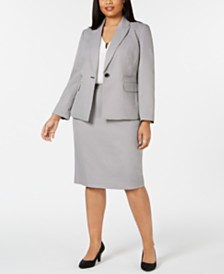 Le Suit Plus Size Notch-Collar Skirt Suit