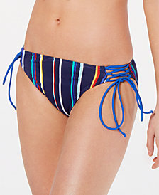 Hula Honey Juniors' Skinny Mini Stripe Side-Lace Hipster Bikini Bottoms, Created for Macy's
