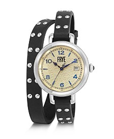 Frye Ladies' Melissa Stud Double Wrap in Black Leather Watch
