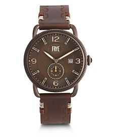 Mens' Weston Dark Brown Leather Strap Watch