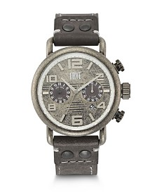 Frye Mens' Officer Chronograph Slate Leather Strap Watch