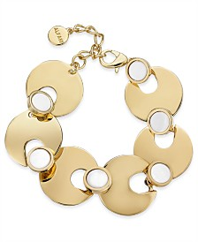 Alfani Gold-Tone & Stone Flex Bracelet, Created for Macy's
