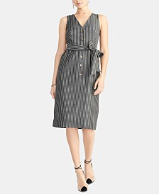 RACHEL Rachel Roy Striped Tie-Waist Dress