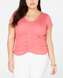 Planet Gold Trendy Plus Size Ruched-Front T-Shirt