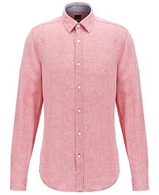 BOSS Men's Regular/Classic Fit Linen Shirt