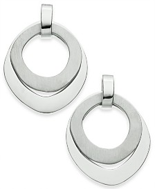 Alfani Silver-Tone Double Ring Sculptural Drop Earrings, Created for Macy's