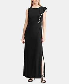 Two-Tone Ruffled Crepe Gown