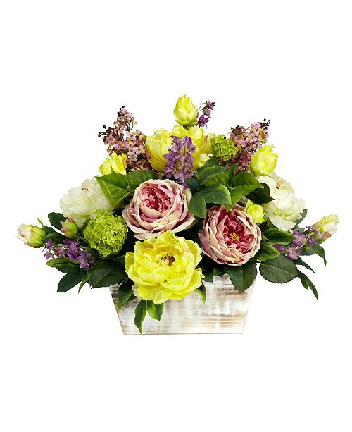 Nearly Natural Mixed Floral w/White Wash Planter Silk Arrangement