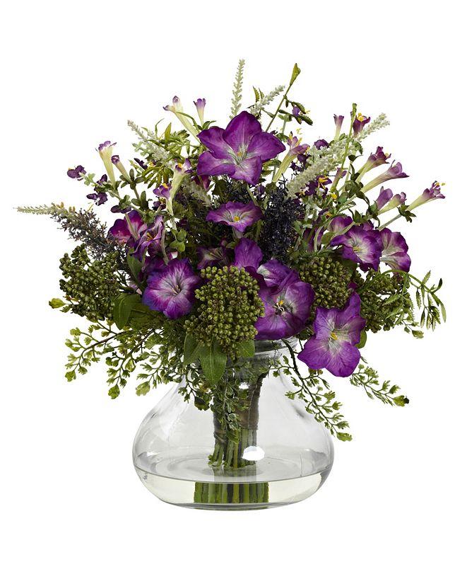 Nearly Natural Large Mixed Morning Glory w/ Vase