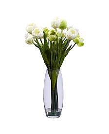 Nearly Natural Tulip w/Vase Silk Flower Arrangement