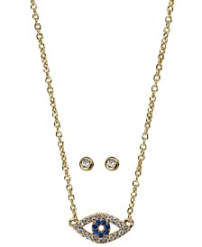 Kitsch Gold-Tone Crystal Evil Eye Pendant Necklace & Stud Earrings Box Set